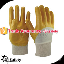 SRSAFETY Best interlock liner 3/4 yellow chemical resistant nitrile gloves
