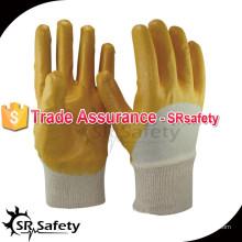 SRSAFETY Лучшая блокировочная прокладка 3/4 желтые химически стойкие нитриловые перчатки