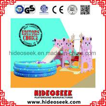 Glissière en plastique qui respecte l'environnement avec la balançoire et la fosse de boule