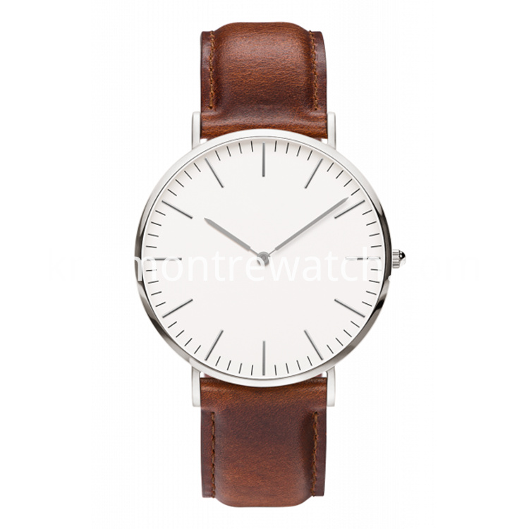 Brown Silver Watch