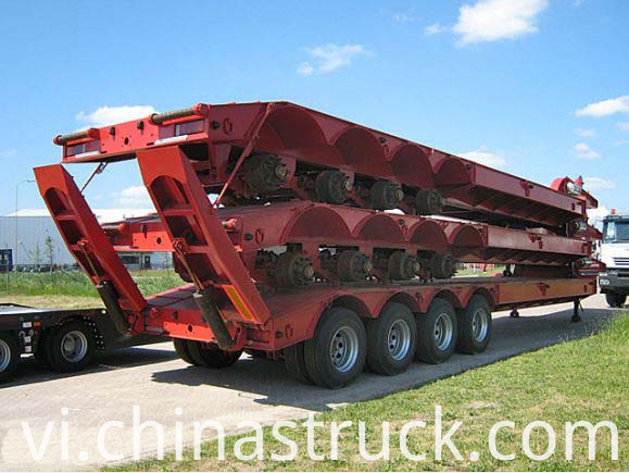 4 axle 100Ton low bed trailer with Hydraulic ladder