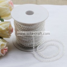 White Color Clear Acrylic Pearl Beaded Garland Chains by Roll for Wedding Decoration