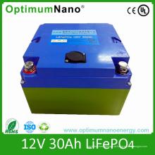 Bateria de lítio de LiFePO4 12V 30ah para o trole de golfe