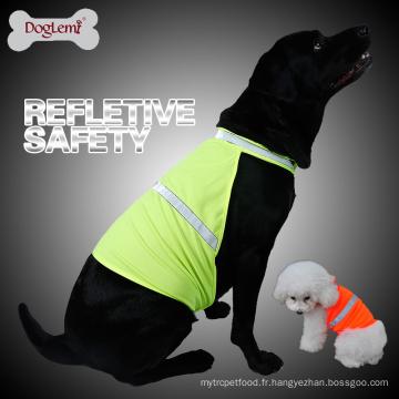 Vente en gros respirant vêtements pour animaux de compagnie d'été réfléchissant chien gilet de sécurité
