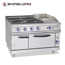FCZH-RS-4G Commercial Multifunction Gas Range With Griddle And Oven 4 Burner & 1 Griddle Oven