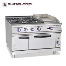 FCZH-RS-4G Gama de gás multifunções comercial com grelha e forno 4 queimadores e 1 forno de grelha