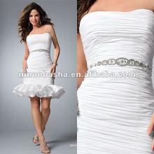 Rhinestone com fita de cetim frisada no vestido de noiva cintura taffeta