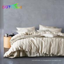 Плоский лист 4шт 100% чистого льна льняной комплект постельного белья покрывало