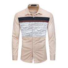 Men Shirt Printed Cotton High Quality Slim Fit Business Shirts