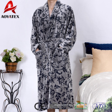 Alibaba venta caliente de alta calidad de franela fleece chal collar hombres albornoz