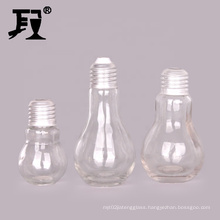 factory sale 50ml 100ml 150ml glass light bulb bottle with lid and straw for fresh juice drinking