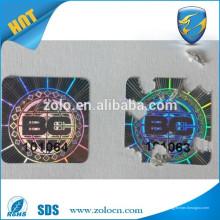 Anti etiquetas de seguridad falsas fácil rasgar la pegatina en el material de papel frágil arco iris pegatina de holograma 3D