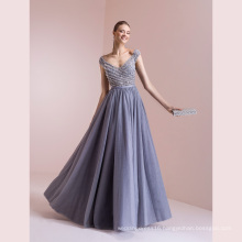 Gery Tulle Beading A Line Evening Gown