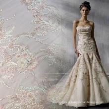 Tecido de vestido nupcial frisado Handwork de cor clara
