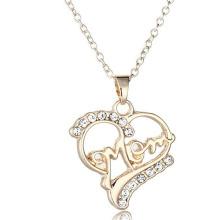 Colar de diamantes colar de prata esterlina dupla coração cadeia colar weeding jóias