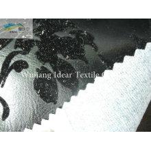 Hellen Beflockung Silber geprägt PU Leder Stoff/Faux PU Leder Stoff