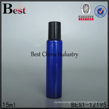 5ml 10ml 15ml cobalt blue glass roll on bottle, black silver gold cap lid