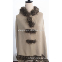 Acrylic Plain Color Poncho with Fur