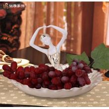 Dancing girl ballet elegant polyresin round resin tray