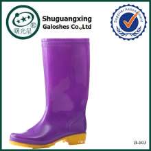 botas de lluvia de PVC las mujeres zapatos libélula marrón rosado B-803