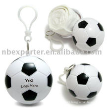 BT-0669 Promotion Plastic poncho Ball with key ring (Football style)