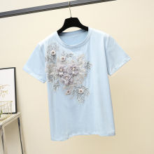 Women Cotton T-Shirt Fashion Embroidery Flower