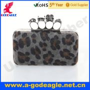 Custom fashion frosted leopard material metal frame evening bags U0012-068