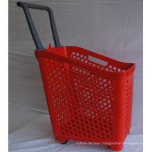 Supermarket Wheeled Large Rolling Basket Plastic Hand Cart