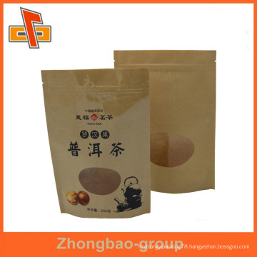stand up ziplock brown kraft paper bag with a clear window for puer/chrysanthemum tea packaging