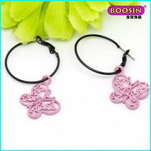Nice Custom Wholesale Pink Enamel Butterfly Charm Hook Earring