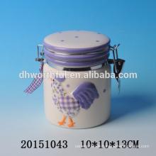 Dekorative küchenware keramikdichtungsbehälter mit hahnmalerei