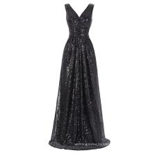 Kate Kasin Sleeveless V-Neck Long Black Shining Sequined Prom Dress KK000199-4