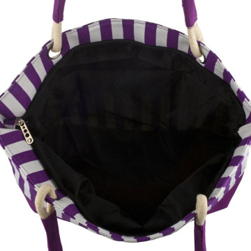 Modern Large Purple Stripes Women Beach Bag