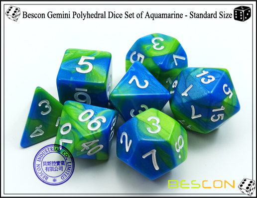 Bescon Gemini Dice Set of Aquamarine-3