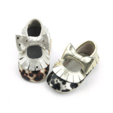 Kasut Leopard Bow Girls Baby Moccasins Shoes