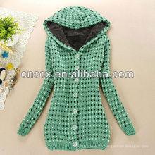 12STC0650 mit Kapuze Damen langen Pullover Mantel