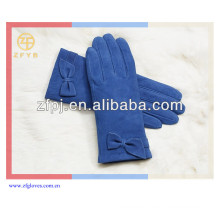 Kundenspezifischer Mode-Veloursleder-Dame Handhandschuh mit Bowknot