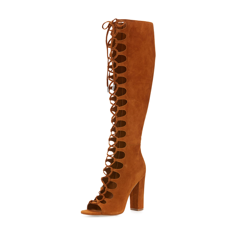 camel mid-calf sexy mesh lace summer boots