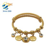 Einfaches Design mit vergoldetem Modeschmuck Charm Armband