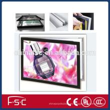 LLEVÓ marco de picutre negro de aluminio de caja de luz magnética para publicidad
