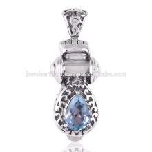 Topacio azul y perla 925 colgante de plata sólida