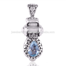 Blue Topaz and Pearl Gemstone 925 Solid Silver Pendant