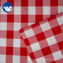 Tissu 100% polyester de rideau jacquard extensible de treillis rouge