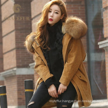 Exquisite workmanship luxury fur parka with real fur hood wholesale