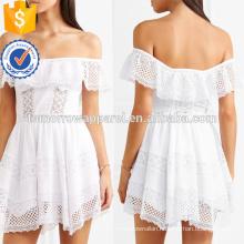 Hot Sale Off-The-Shoulder Short Sleeve White Lace Cotton Mini Summer Dress Manufacture Wholesale Fashion Women Apparel (TA0256D)