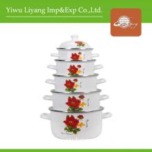 Ceramic Casserole Set Cooking Pot Floral Decal Stew Pot (BY-0604-2)