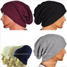 Зимние Шапочки Сплошной Цвет Шляпа Мужская Обычная Череп Вязаная Шапка