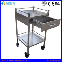 Medical Use Stainless Steel Hospital Trolley with Drawer