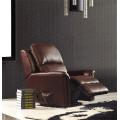 Sofá reclinável elétrico do sofá de couro genuíno do couro (843)