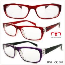 Senhoras óculos de leitura plástica com templo da primavera (wrp508327)